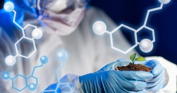 biotech, molecular, soil, scientist, closeup, experiment, goggles, workwear, biologist, protective, researching, green, sprout, molecules, formula, eco, future, sample,